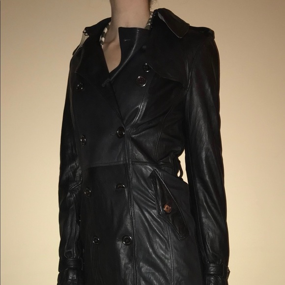 478a26430 Burberry Black leather coat. Worn to perfection